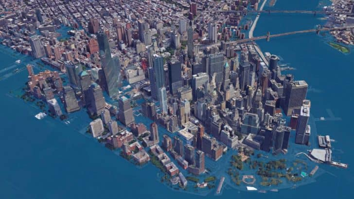 How would New York City look like should sea levels rise by 8 feet